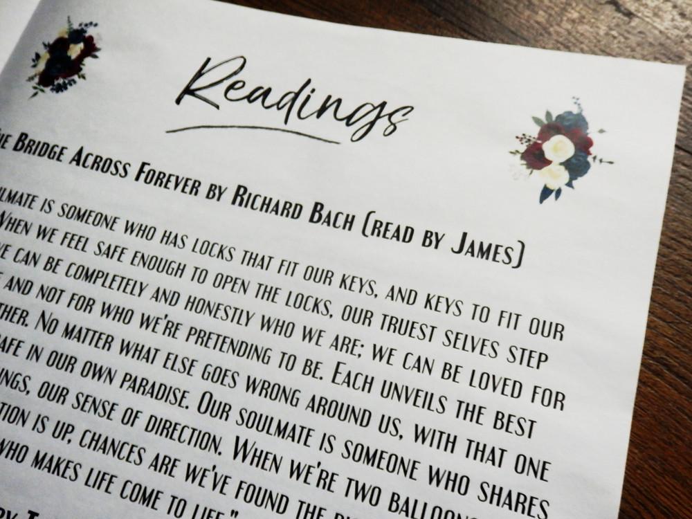 Wedding Readings Wedding Newspaper