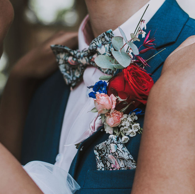 Wedding bow tie and buttonhole