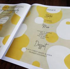 Modern Kraft and Mustard Abstract Wedding + Civil Partnership Order of Service Newspaper | Alternative Wedding Stationery Newspapers