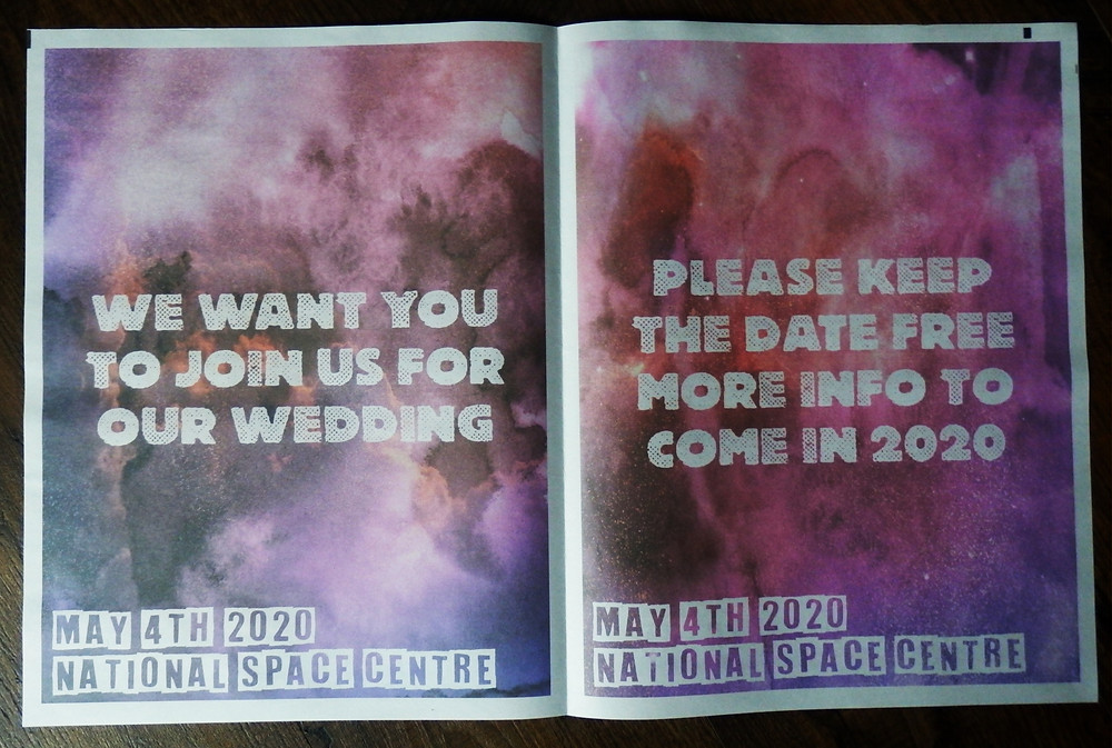 Space themed Wedding Save the Date stationery Newspaper National Space Centre