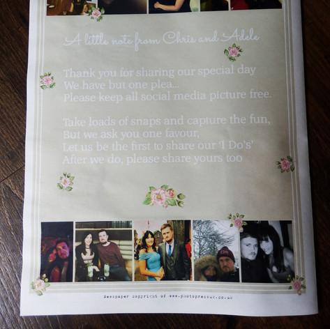 Pink flower Wedding Order of Service Newspaper | Alternative Wedding Stationery Newspapers