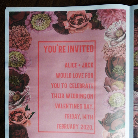 Vintage rose Wedding Invite