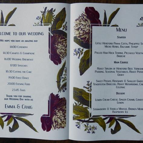 Vintage flowers Wedding Order of Service Newspaper | Alternative Wedding Stationery Newspapers