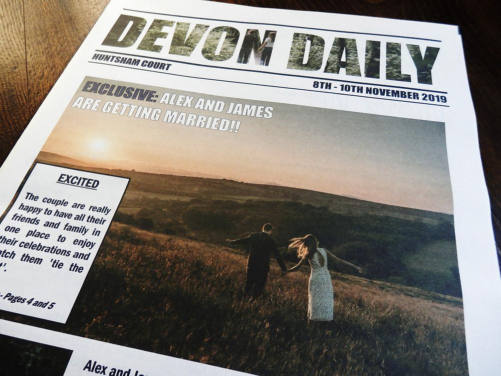 Devon Weekend Wedding Newspaper Program Programme Itinerary Huntsham Court