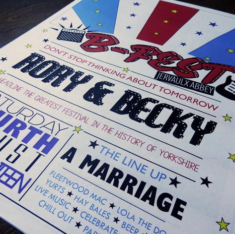 Festival themed Wedding Order of Service Newspaper