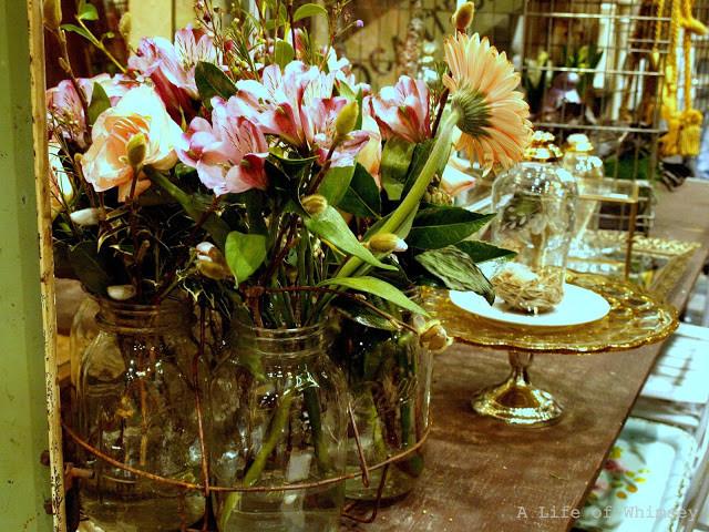 Vintage mason jar, flower arrangement, northwest flower and garden show