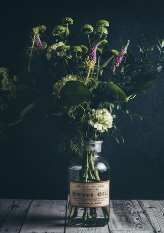 garden flowers in vintage glass jar-rosa