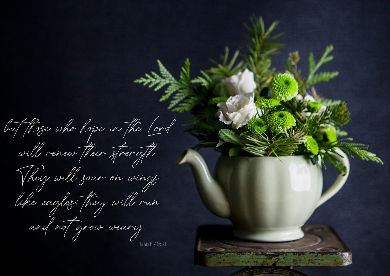 Green and white flowers-tea pot Isaiah 4