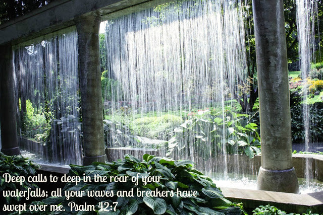 Waterfall with psalm 42:7
