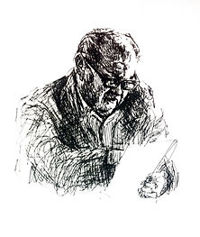 Sketch of poet Richard Hugo