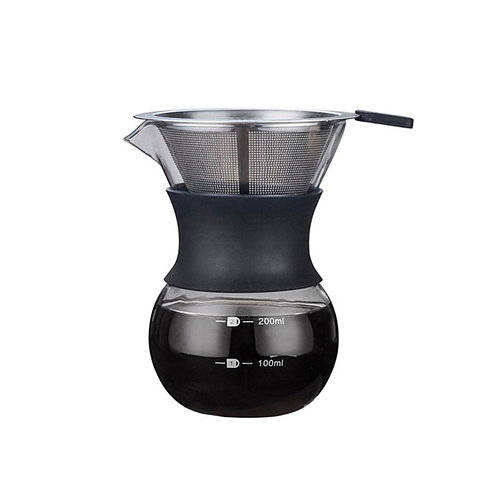 Glass Pour Over Coffeemaker with Reusable Stainless Steel Coffee Filter