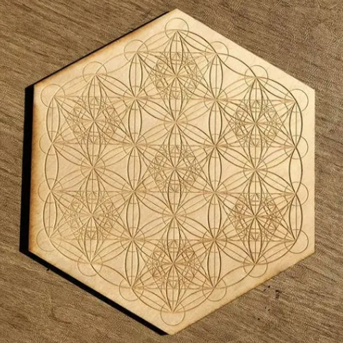 Crystal Grid Base - Metatron Flower of Life - Wood - 4""