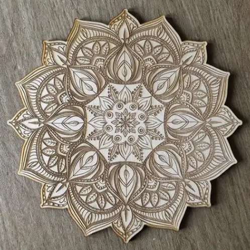 Crystal Grid Base - Mandala - Wood - 4""