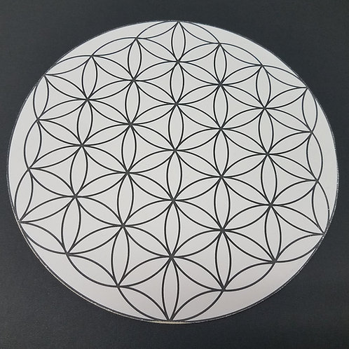 Crystal Grid Base - Flower of Life - Paper on Wood - 8""