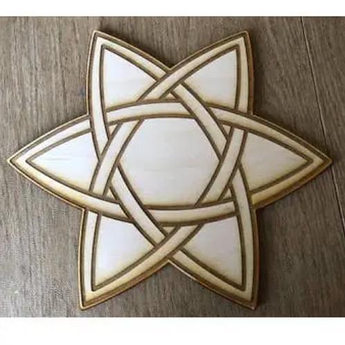 "copy of Crystal Grid Base - Celtic Star - Wood - 6"""