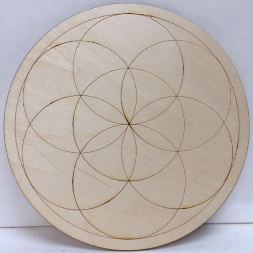 Crystal Grid Base - Seed of Life - Wood - 8""