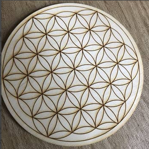 Crystal Grid Base - Flower of Life - Wood - 4""