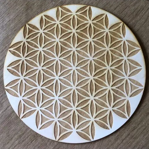 "Crystal Grid Base - Flower of Life Inverted - Wood - 4"""
