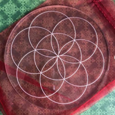 "Crystal Grid Base - Seed of Life - Acrylic - 5.75"""