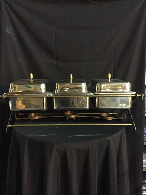 Chafing Dish- Triple With Brass
