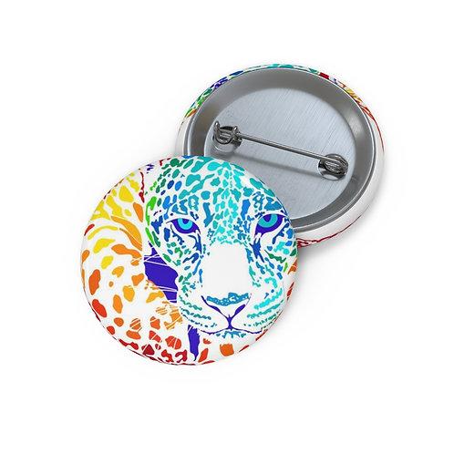Rainbow Jaguar eyes Custom Pin Buttons