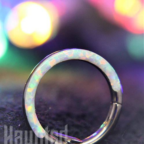 White Opal Arch Hinged Ring