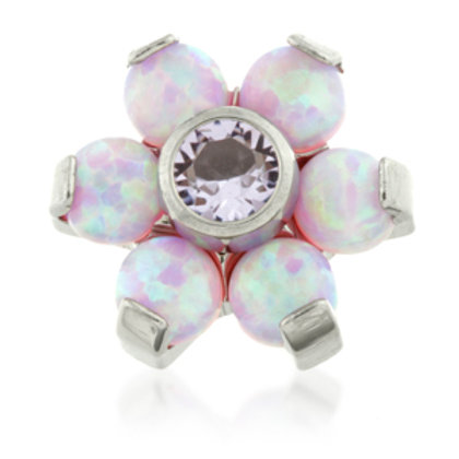Titanium Pink Opal and Lilac Gem Flower