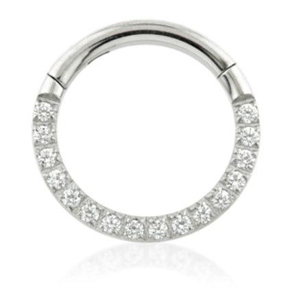 Titanium Forward Facing Pave Gems Hinged Ring