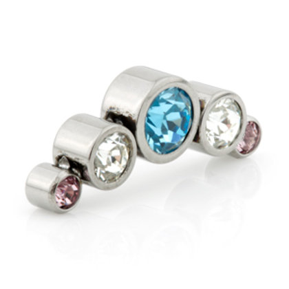 Titanium 5 Blue, Crystal and Pink Gems Cluster