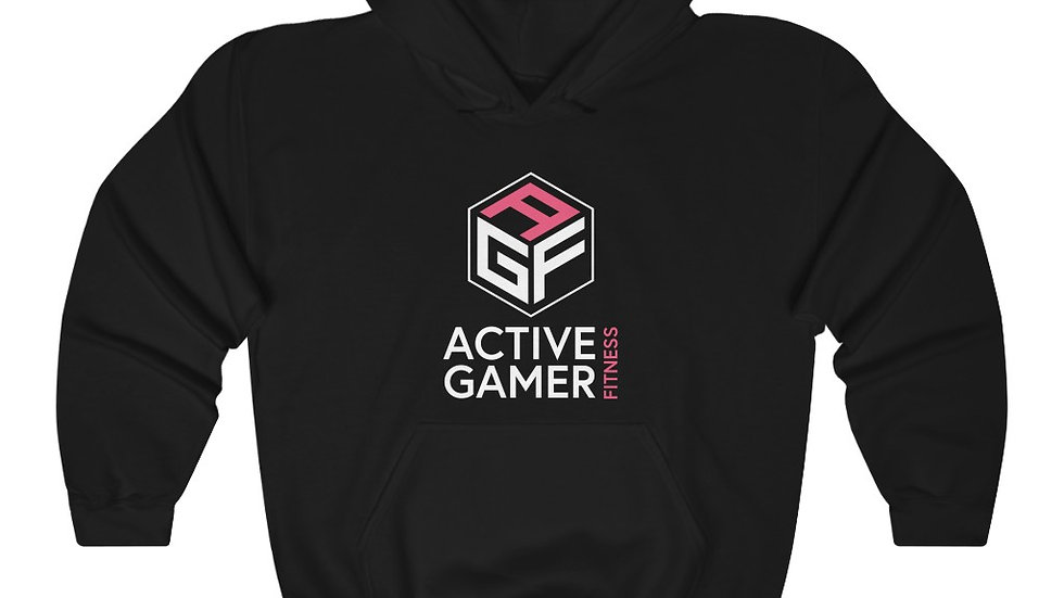 Black AGF A unisex heavy blend hooded (Front Print)