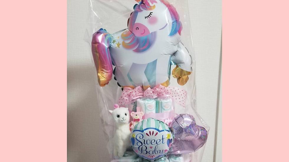 【おむつケーキ】出産祝い ベビーシャワー 飾り 女の子 ユニコーン ピンク ゆめかわいい ぬいぐるみ バルーン パーティー ギフト