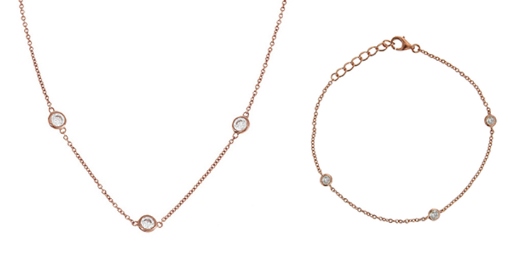 Geschenkset Finja 925 Sterling Silber rosévergoldet Zirkonia