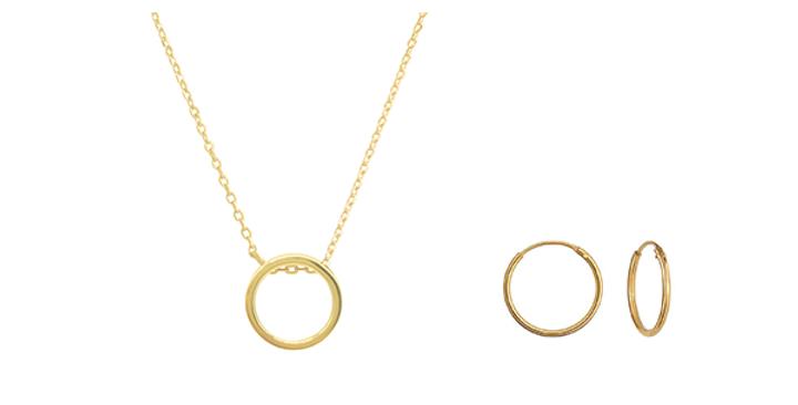 Geschenkset Emilia 925 Sterling Silber vergoldet