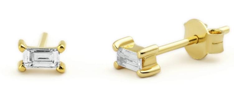 Ohrstecker Claire White 925 Sterling Silber vergoldet Zirkonia