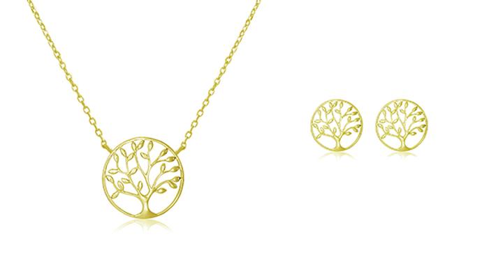 Geschenkset Charlotta 925 Sterling Silber vergoldet