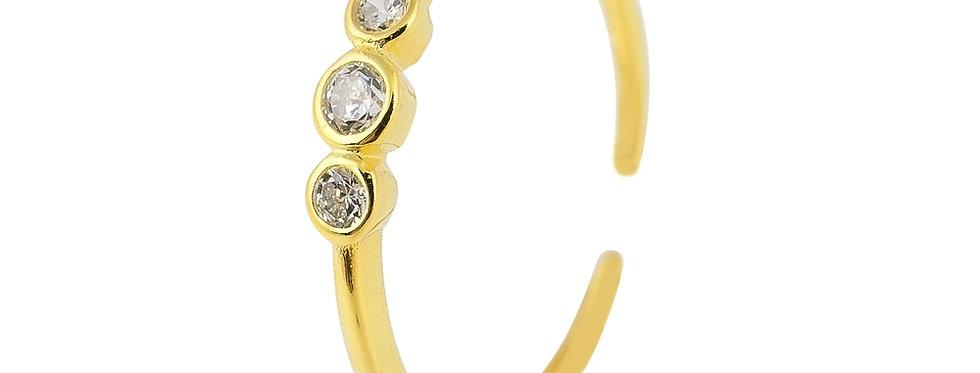Ring Finja 925 Sterling Silber vergoldet Zirkonia