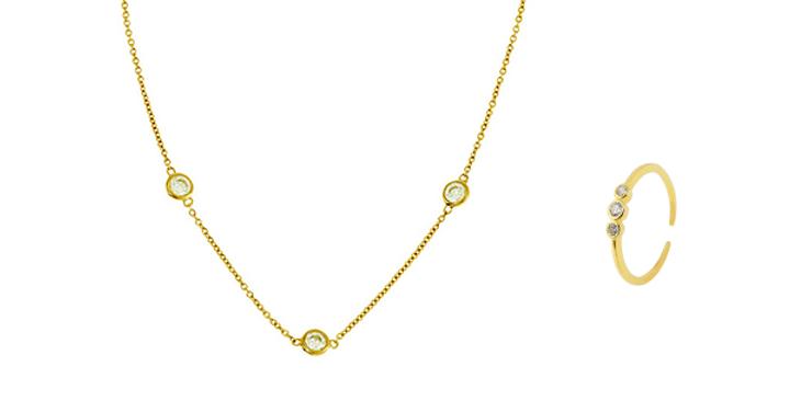 Geschenkset Finja 925 Sterling Silber vergoldet Zirkonia