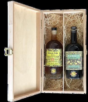 MORRIS Gin & MAUND Rum in Holzkasette