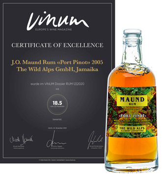 "CERTIFICATE OF EXCELLENCE J.O. MAUND RUM ""Port Pinot"" 2005"