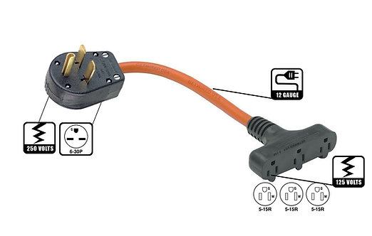250 Volts 6-30P down step to 125 Volts 3x 5-15R