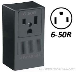 2-Pole 3-Wire Surface Mount 250V 50A NEMA 6-50R Receptacle