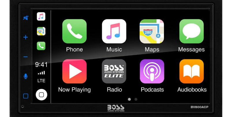 """BOSS - ELITE - Double Din BT CarPlay & Android Auto 6.75"""" TFT Wireless Remote 80"""