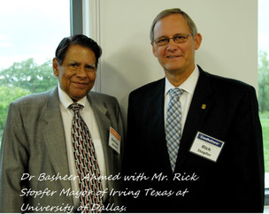 "Dr Ahmed met with Mayor of Irving Mr. Rick Stopfer at a seminar ""ConfluCore"" where Mr. Zulfi present"