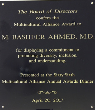 Dr. Basheer Ahmed has received the prestigious award from Multi Cultural Alliance At the 66th annual