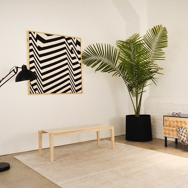 Wall Art by OokLoop Studio Coffee Table by radvalley Nightstand by Mike Newins