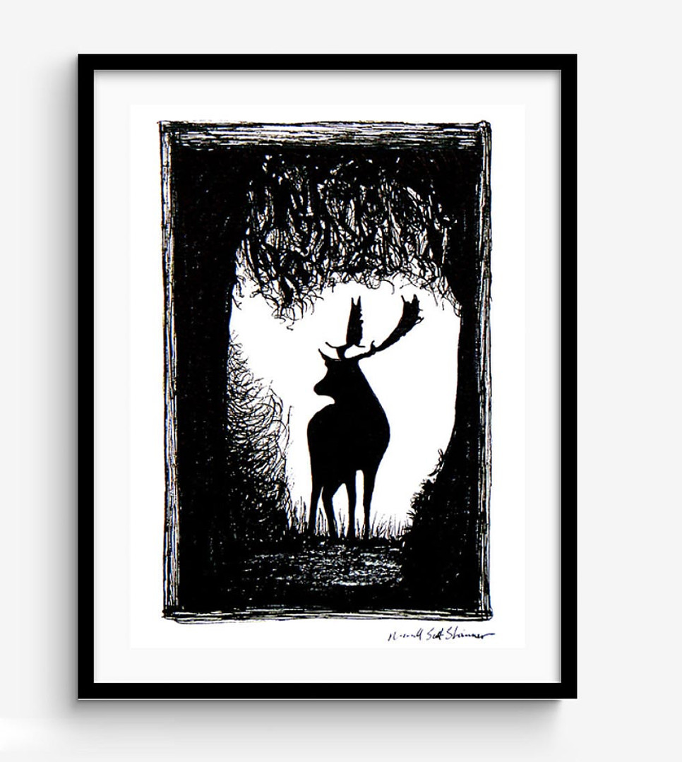 Wild-Stag-Deer-of-Devon-Drawing,-framed-