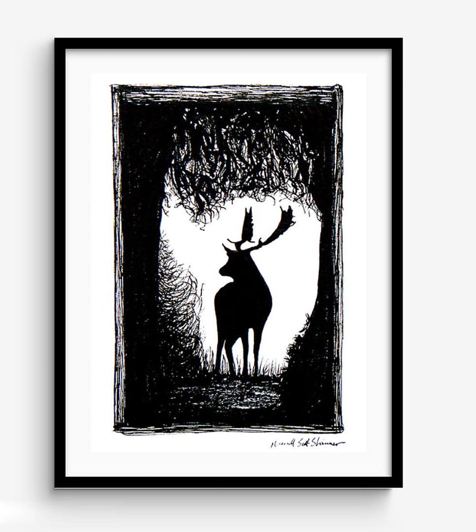 Wild-Stag-Deer-of-Devon-Drawing,-framed-