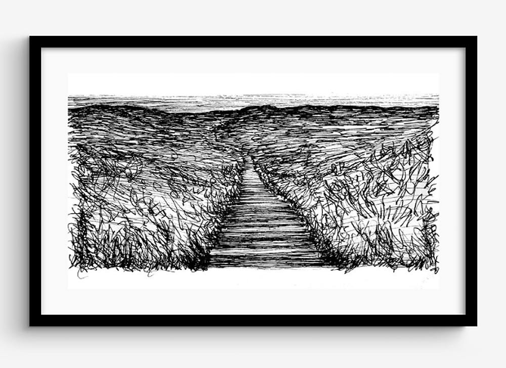 Saunton-Beach-Sand-Dunes-Drawing,-framed