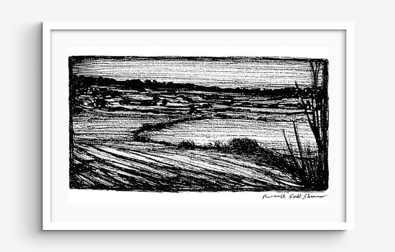 Devon-Countryside-Drawing,-framed-by-rus