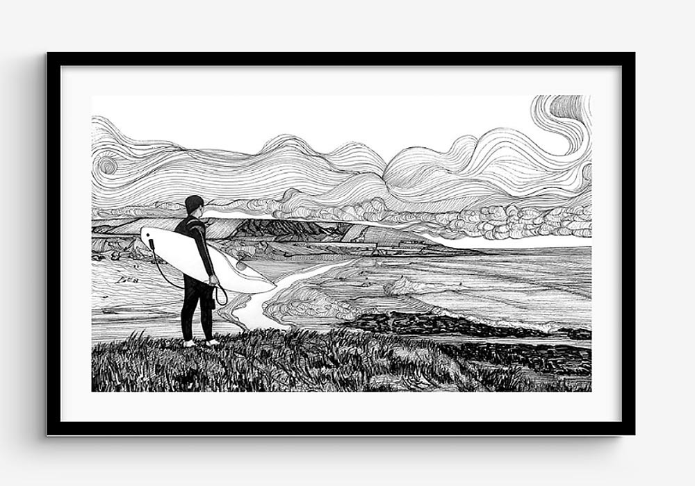 croyde-surfer-drawing-framed-by-russell-